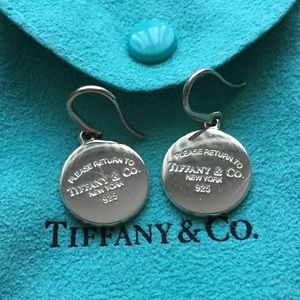 Authentic TIFFANY & CO Round Tag Dangle Earrings